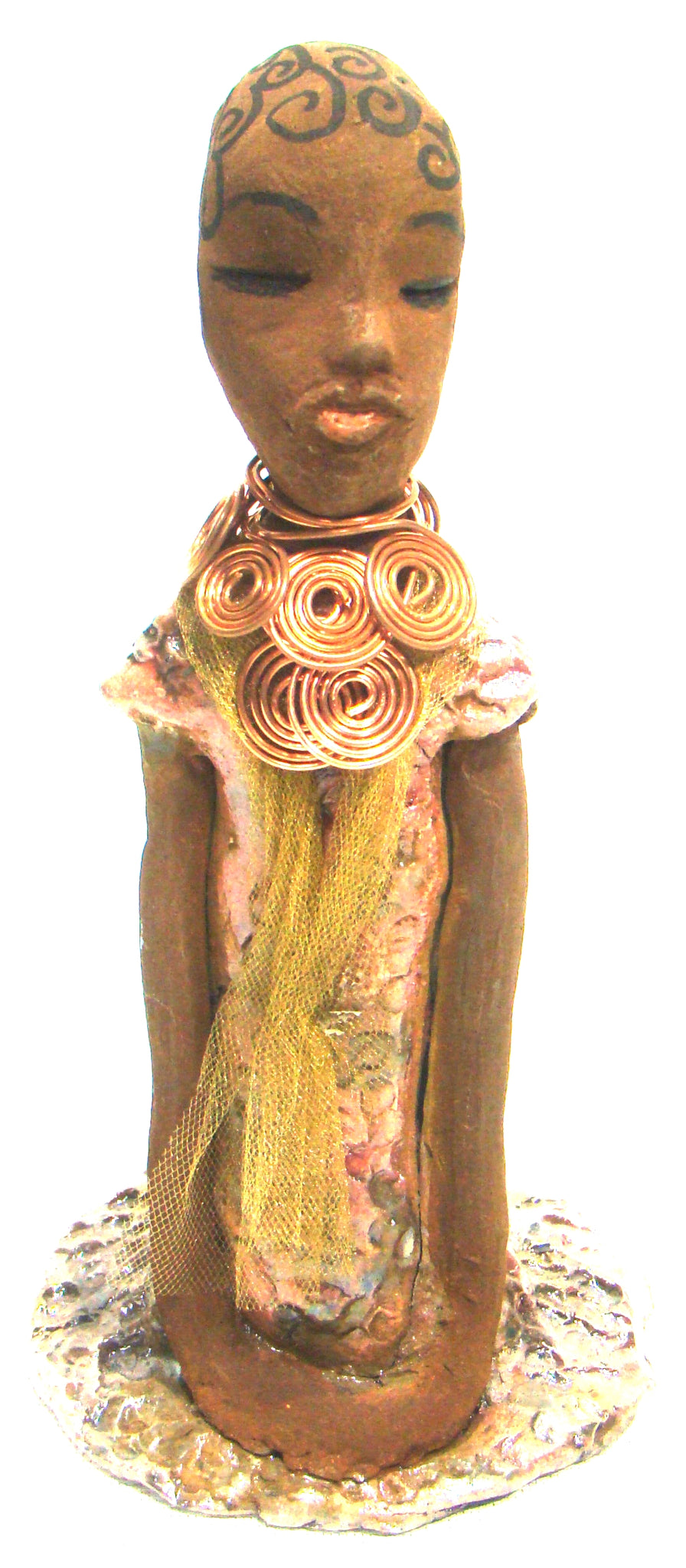 "Wendy stands 9.5"" x 5""x  5"" and weighs 1lbs.     She has a honey brown complexion with ink drawn spiral hair.     Wendy wears a golden tulle scarf underneath a copper spiral necklace.     She wears a bright metallic copper dress.     Her long loving arms rests at her side.     Wendy at 85.00 makes a great deal and starter piece in the Herdew Collection."