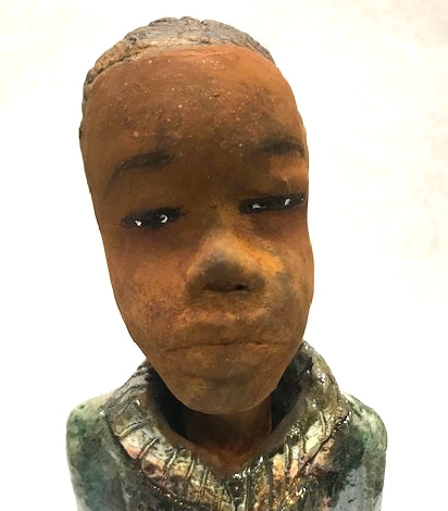 "Meet Allen!      Allen stands 14.5"" x 5"" x 3"" and weighs 3.11 lbs.     Allen has a handsome honey brown complexion.     His hair is made of clay.     He has a  textured copper metallic outfit.     Allen is a young man full of pride and joy.  Allen will bring joy and peace to your home. Free Shipping!"