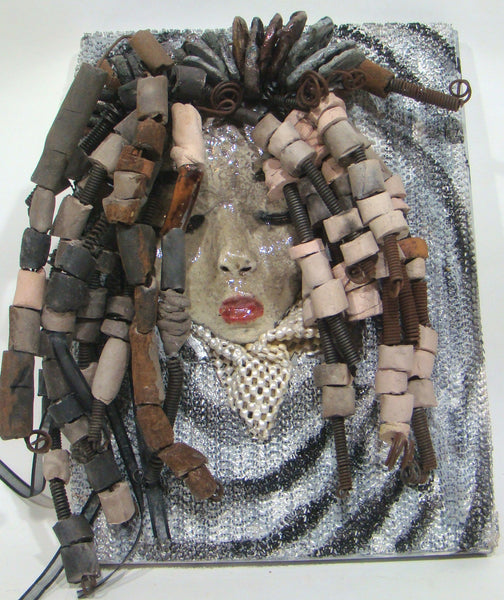 She has over 30 feet of 16 gauge wire for hair and over 60 raku beads.     Reagan has a white crackle face with ruby red lips.     She is ready to be hung!