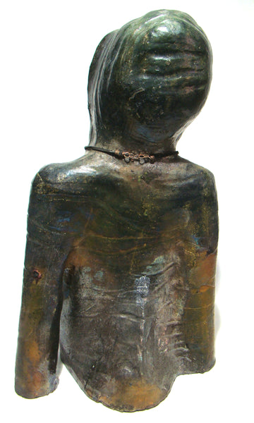 "Daryl is a raku fired sculpture 20"" x 9"" x 7 "" and weighs 15 lbs."