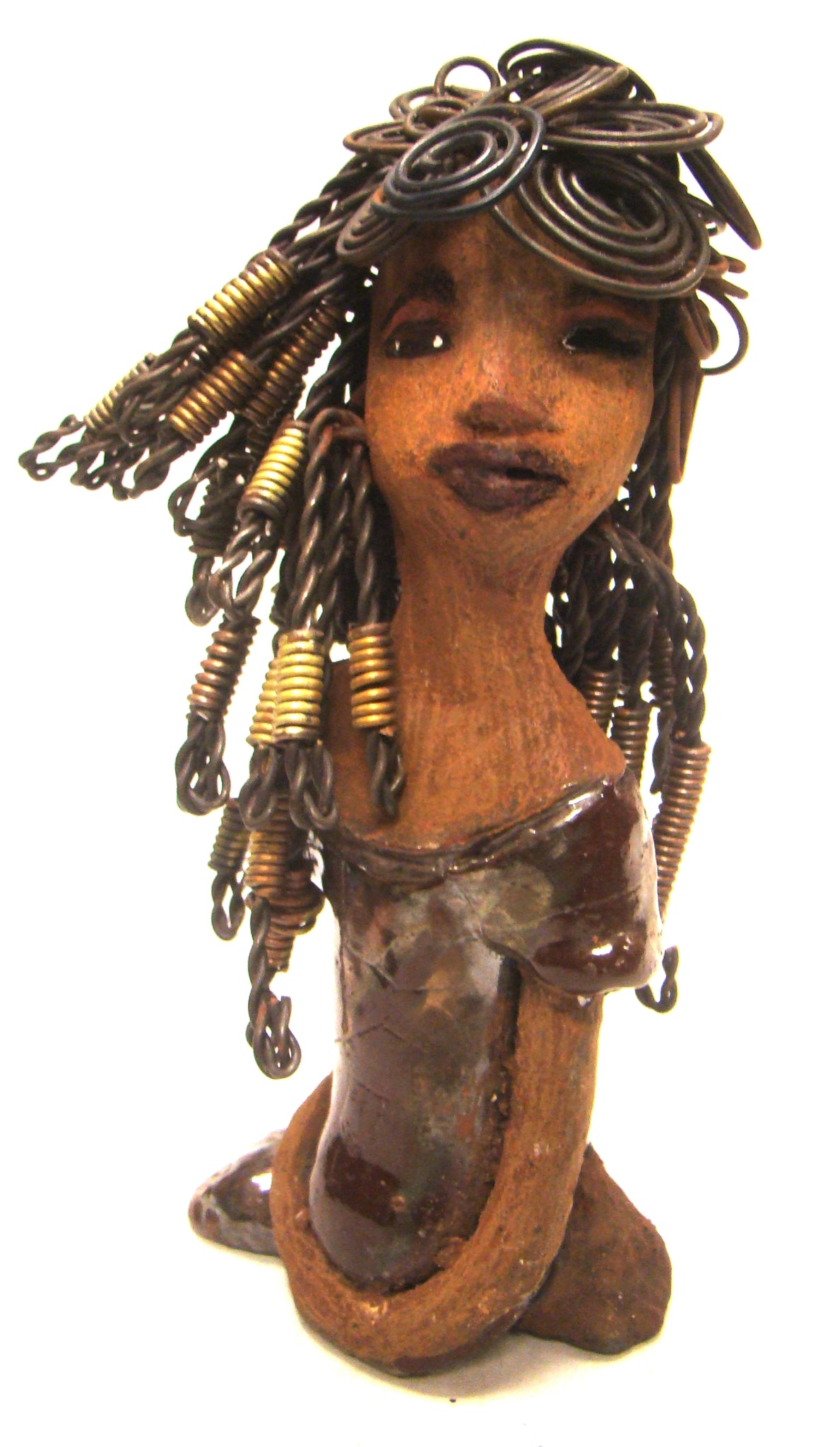 "Meet Grace! Grace stands 8"" x 4"" x 3"" and weighs 1.07 lbs. She has a lovely honey brown complexion. Her dress has a glossy raku copper glaze. Grace has over 30 feet of coiled wire hair with gold dread clips. It took over 5 hours just to complete her hair! Grace has long loving arms at her side. Grace eyes are bright with anticipation of finding a new home. Free Shipping!"
