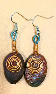 Raku copper metallic  copper coils textured Irregular ovals 1/2 ounces