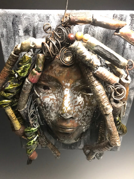 Diamond- Canvas Mounted Raku Mask