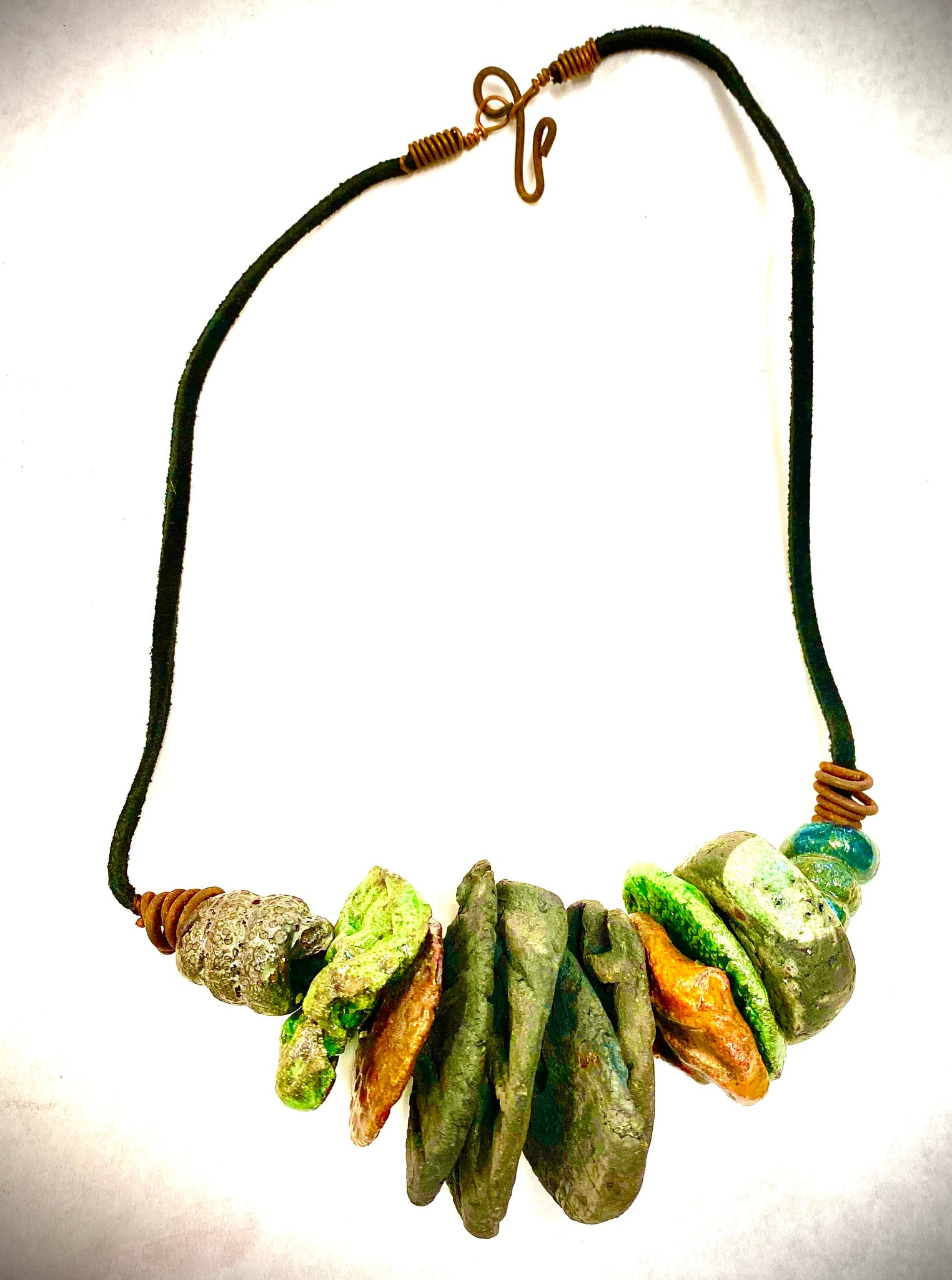 "Simple and Beautiful! (11 ) metallic multi size /colored raku bead, (2 )  spiral wire beads. 7""  hang brown suede cord Amazingly Lightweight! 3.5 ozs!!"