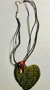 "Heart  Raku Pendant  3"" x 3"" Multi metallic colors textured heart Nice 18"" multi cords"