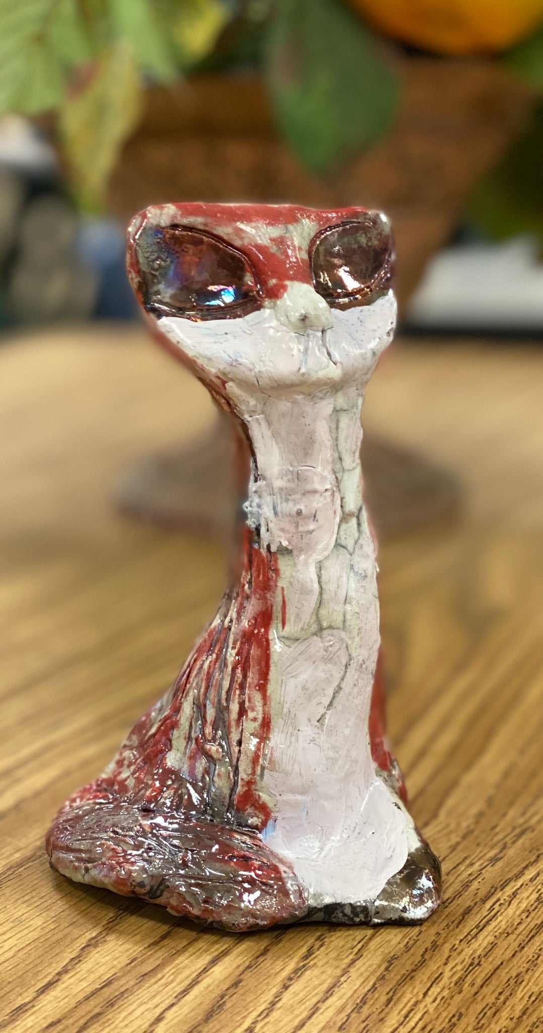 "Catina! A really long neck arrogant cat! Beautiful red and copper glazes 5.5"" x 3.5"" x 3.5"" Need a home."
