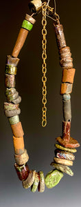 "Nice! 30 handmade raku fired beads 26"" in length with chain 5.2 oz"