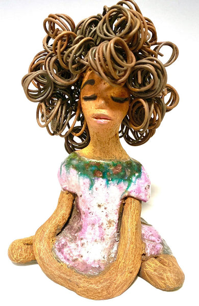 "Meet Randi! Randi stands 7"" x 4"" x 3"" and weighs 1 lbs. She has a metallic lavender dress with copper flashes. She has a lovely honey brown complexion. Her long loving arms rest at her side. Randi has over 20 feet of curly wire hair that took over 2 hours to complete!"