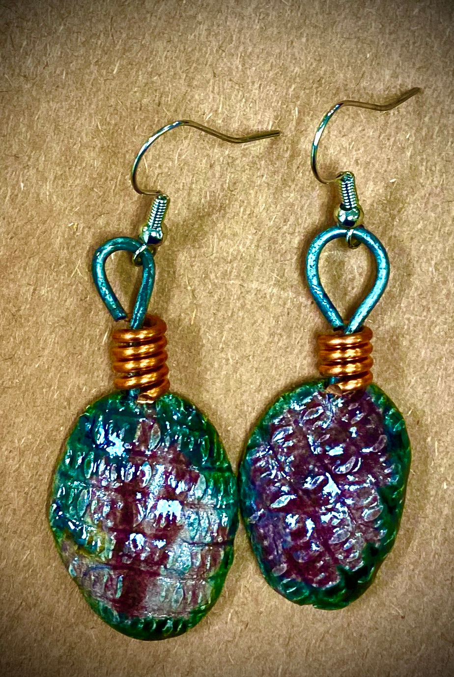 Shimmery green and purple luster textured copper coils 2 ounces