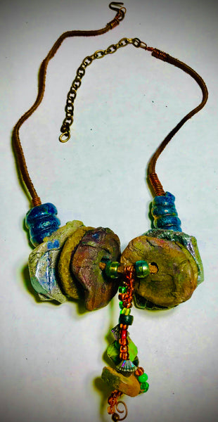 Raku Necklace-10+  Multi beads