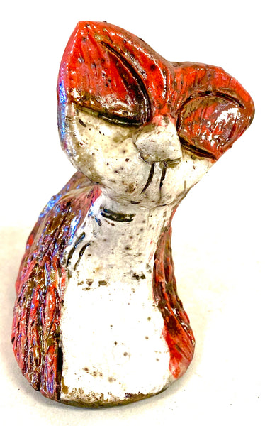 "Hello Rae! Rae -A Raku Kitty sits 4."" x 3"" x 3.5"" She has a copper and white  textured body Weighs 6 ozs Rae is a Must have!"