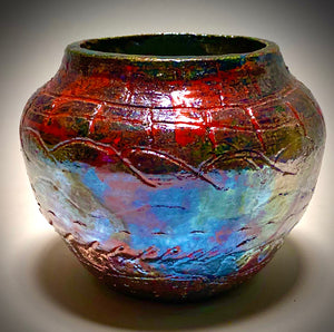 "Open Raku Vase Glossy red copper luster 5"" x 6"" x 6"" 1.06 lbs Not for Food Consumption Decorative Purposes Only Free Shipping!  Got Questions????  Instant Message or Chat with me.   Shipping and Returns"