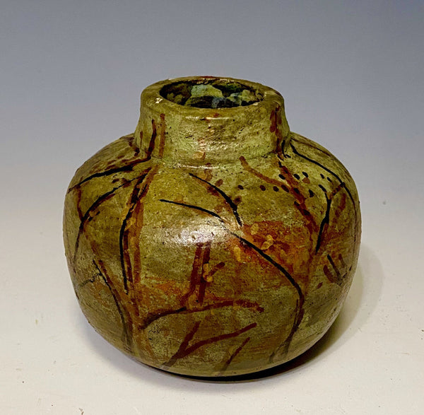 Hand Painted Raku Fired Vase-9