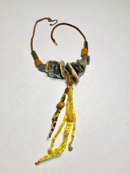 Tribal Raku Beaded Necklace -3