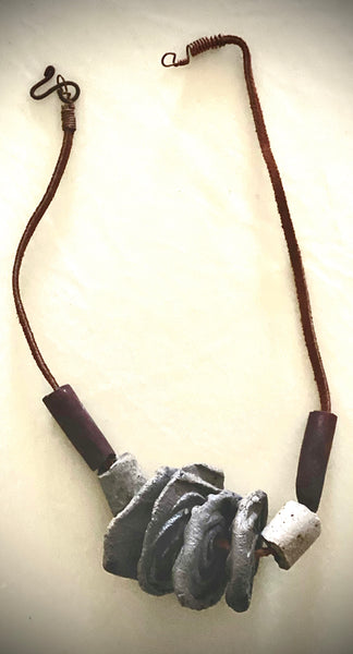 "Simple and Beautiful! 8 multi size / color raku beads 8"" hang  brown suede cord Amazingly Lightweight! 2.3 ozs!!"