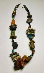Raku Beaded Necklace-17