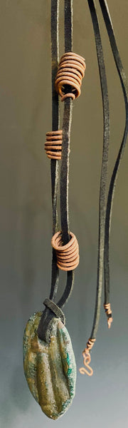 "Earthy! 16""  brown suede cord. 1  earthy colored Raku disc spiral wire coils Tribal!"