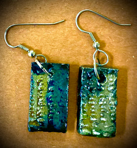 Raku Metallic gold green and copper Luster Textured  Irregular Rectangle 1/2 ounces