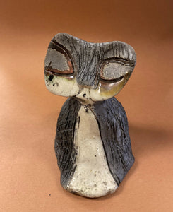 "Milton- A Raku Kitty sits 5"" x 4"" x 4"" Black, white, and copper teMilton xtured body Weighs 9.4 ozs Must have!"