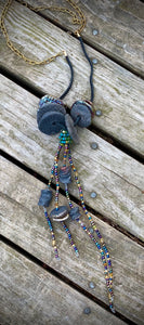 "Take a 2nd Look! 22"" cord with extension chainTake a Second Look! 10"" vertical drop 13 multi colored Raku beads colored beads over 40 mixed acrylic and wood beads Extended chain provided Tribal!"