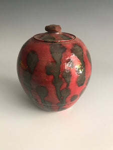 Red Orange and Gold Lidded Pot