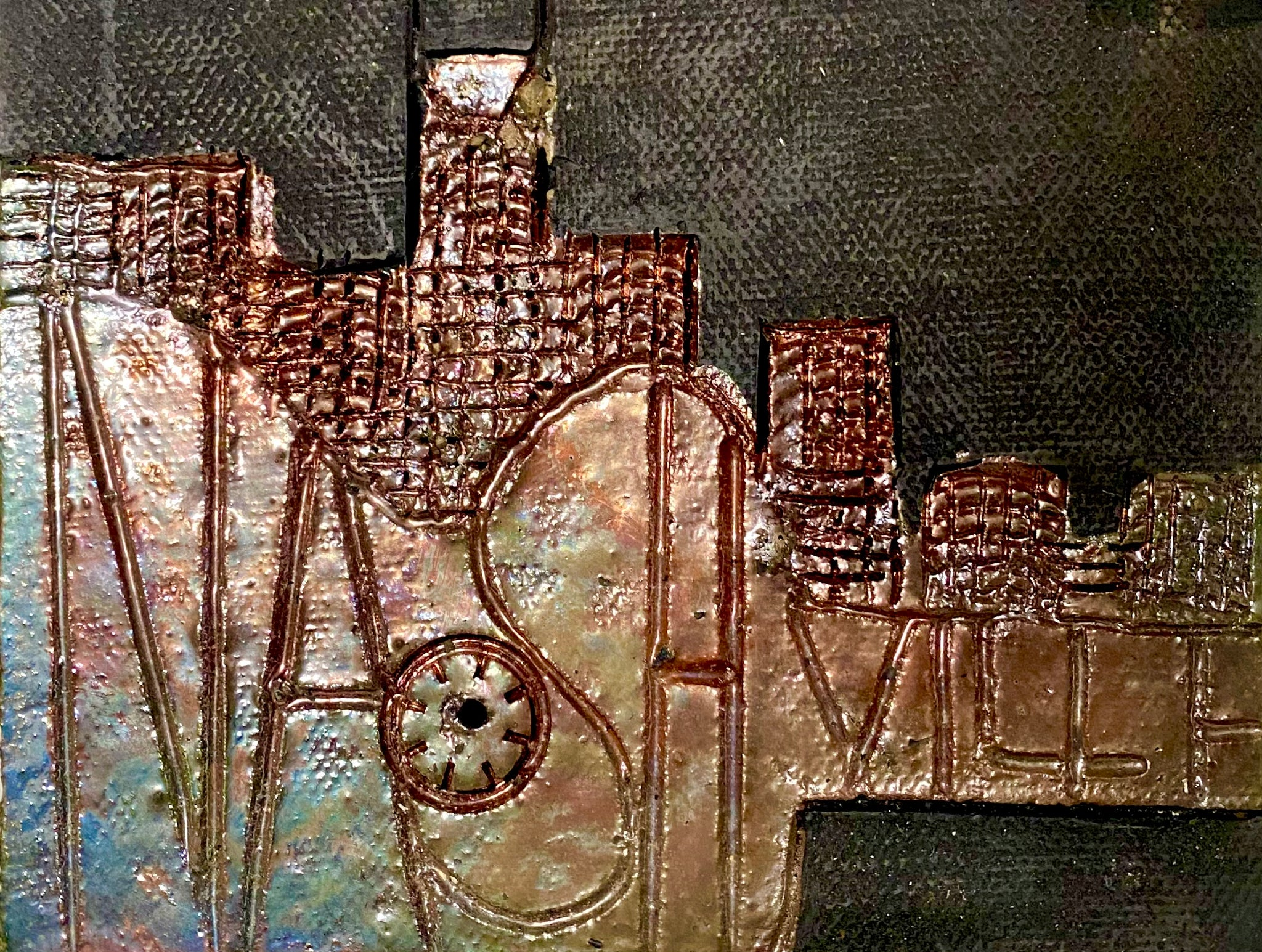 "Skyline of Downtown Nashville   4.5"" x 5.5"" 7.45 ozs Metallic copper glaze etched back hook"
