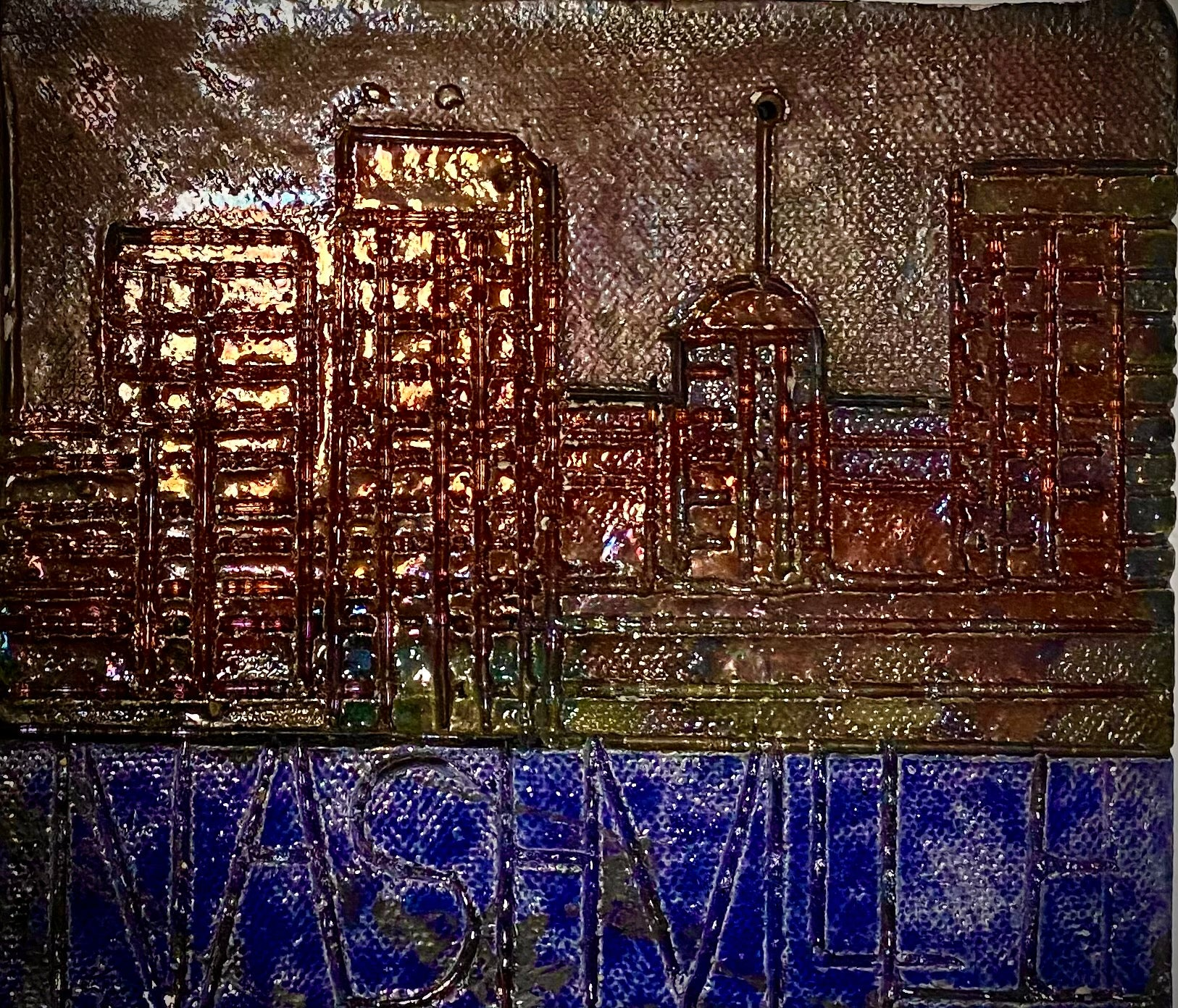 "Skyline of Downtown Nashville!  6"" x 5.5""  11  ozs Metallic copper glaze etched and textured back hook"