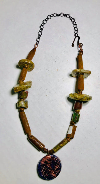 Tribal Raku Beaded Necklace -12