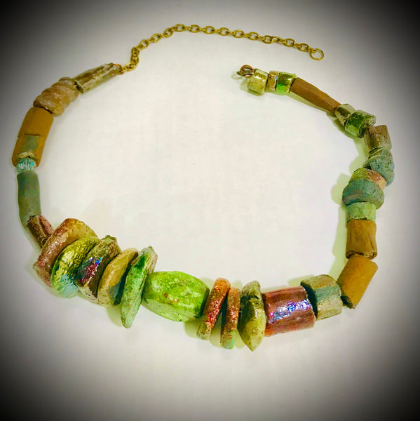 Raku Beaded Necklace-16