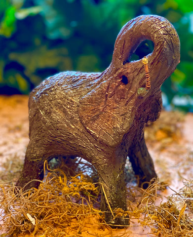 "Raku Elephant Have you HERD!!!!!!  Just one of these lovely Raku Fired Elephant will make an excellent gift for your  friend, sorority or for your home' special place centerpiece.  6"" x 5"" x 5"" 1 lbs Beautiful metallic raku elephant For decorative purposely only"