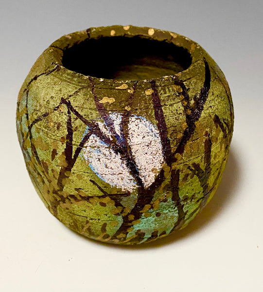 Hand Painted Raku Fired Vase-1