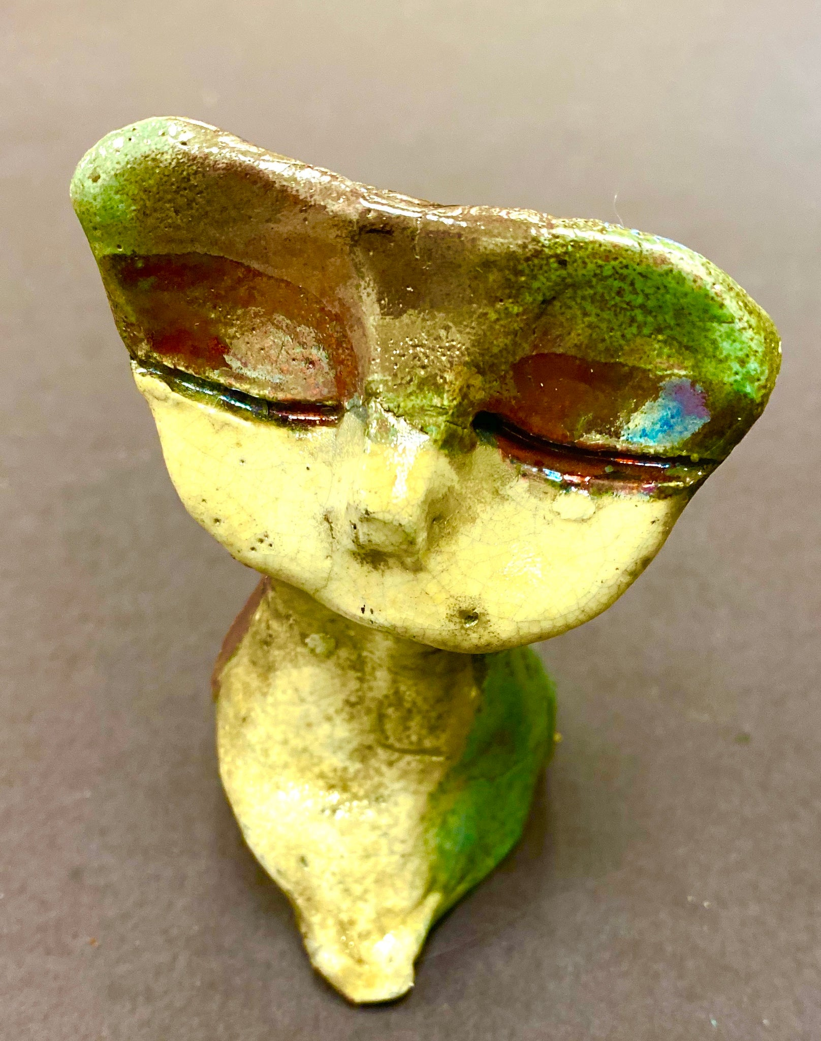 "Hello Cyi! Cyi A Raku Kitty sits 3"" x 3"" x 4"" He has a copper and white textured body Weighs 7 ozs Cyi is a  Must have!"