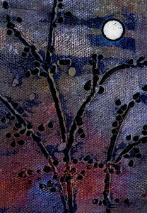 "Raku tree and moon tile  4"" x 6.5"" back hook metallic glazes"