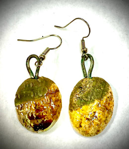 Raku Fired Earrings  Two tone smokey black and Shimmery Gold Luster 1/2 ounce