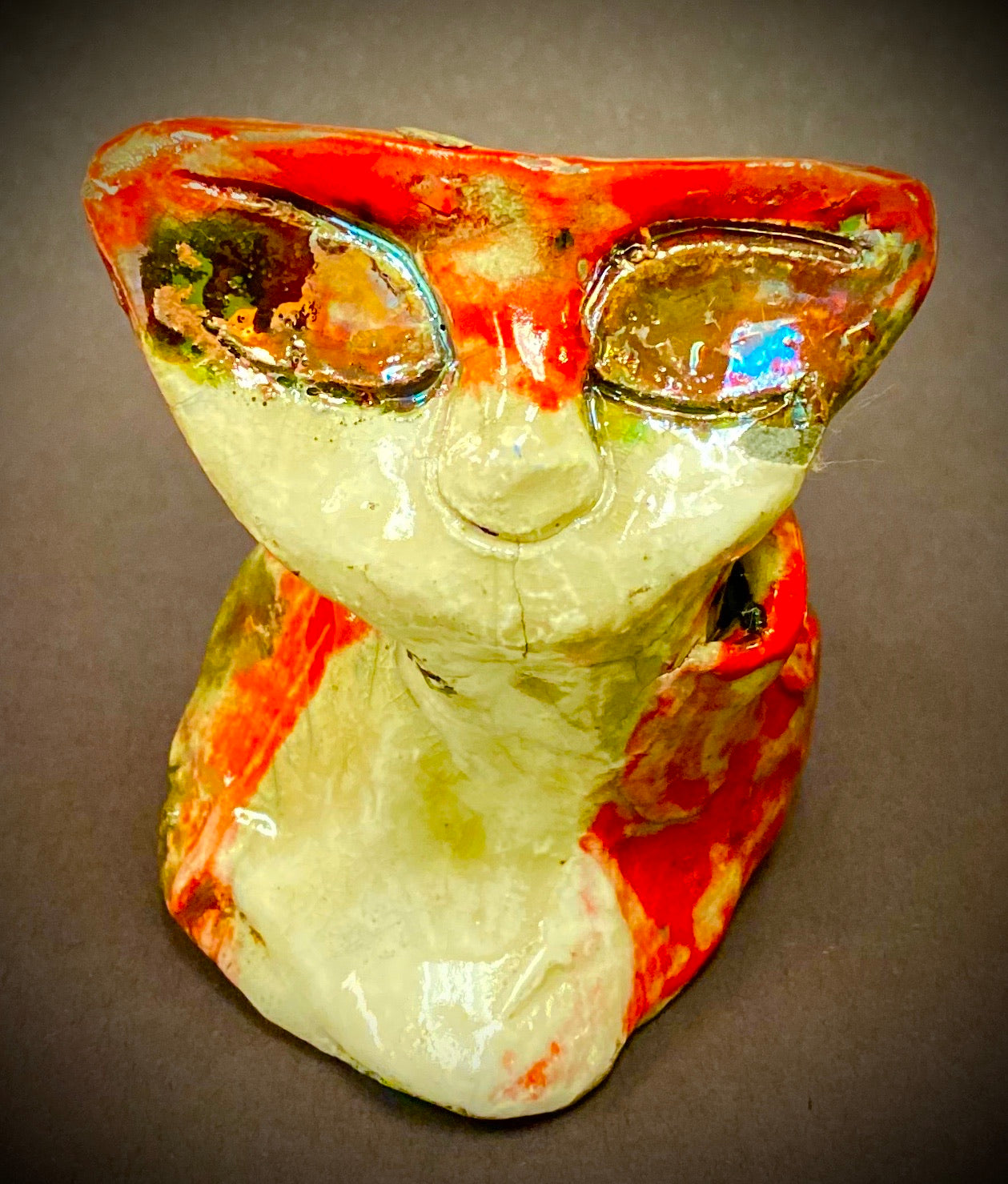 "Hello Tracy! Tracy A Raku Kitty sits 3"" x 4"" x 3"" Black, white, and copper red textured body Weighs 4.4 ozs Must have!"