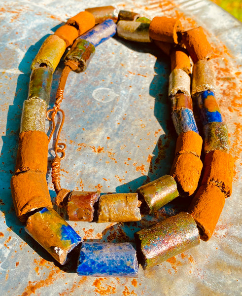 Tribal Raku Beaded Necklace -8
