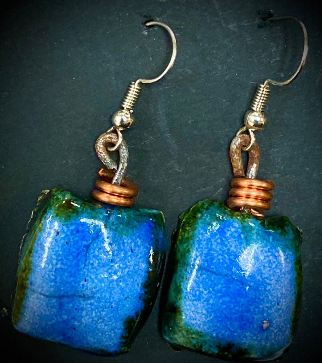 Really Nice! Raku  Irregular Rectangle Copper coils Shimmery aqua blue luster 1/2 ounce