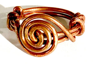 handmade spiral copper rings approx. size 8