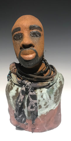"David stands 15"" 8"" x 5"" and weighs 6.03 lbs.     He wears three coiled 16 gauge wire necklaces with an earthy peace scarf..     David has a honey brown complexion.     He seems to be in deep thought.     David would display proudly in that special place in your home.  Free Shipping!"