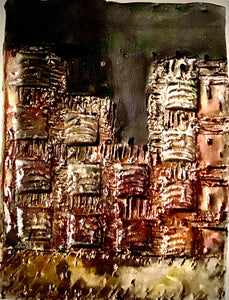 "Skyline of Downtown Nashville  4.5"" x 5.5""  7.5 ozs Metallic copper glaze etched and textured back hook"