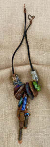 "Really 35.00 ...this is it! 8"" vertical drop 18 raku Beads Over 7 acrylic beads"