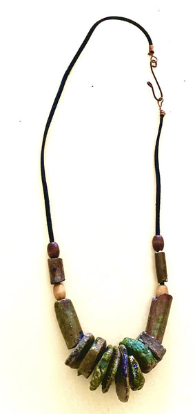 "Simple and Beautiful! 9 "" hang  12 Raku beads 4 wooded beads 4 ozs Tribal"