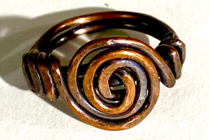 handmade spiral antique copper rings approx. size 8