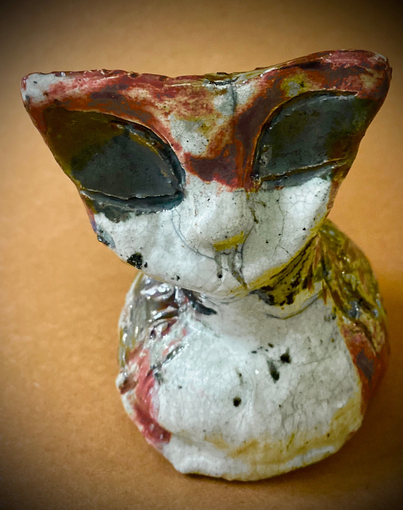 "Avery A Raku Kitty sits 3"" x 3"" x 3"" She has a copper red and white textured body Weighs 5.9 ozs Averys a  Must have!"