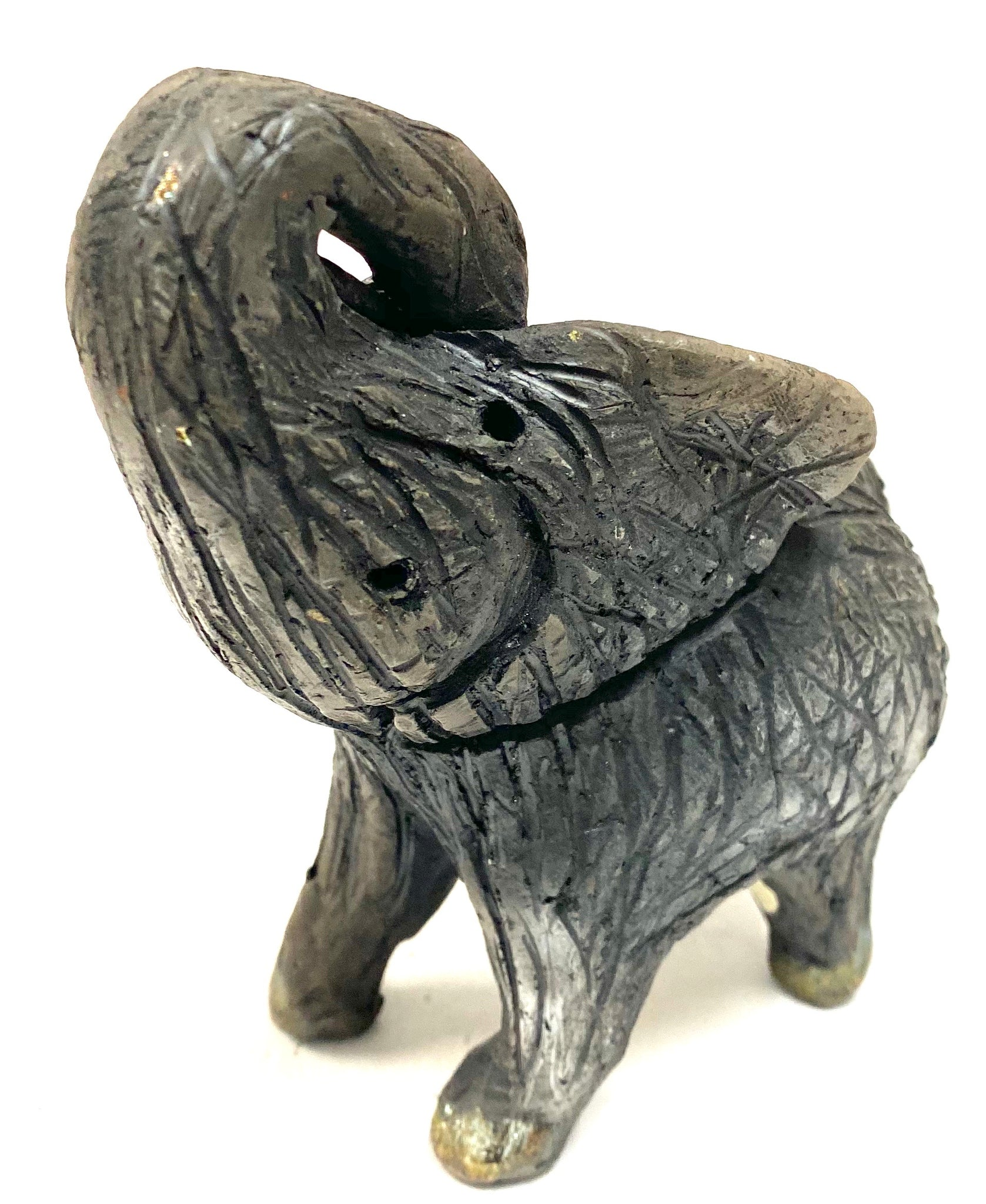"Have you HERD!!!!!!     Elephants are one of my favorite animals to create. They are so majestic""  Just one of these lovely Raku Fired Elephant will make an excellent gift for your  BFF,  or just for you .    This baby raku fired elephant stands 4"" x 3"" x 4.5"" and weighs 10 ounces. She tusk less with a textured charcoal  body. Nice!"