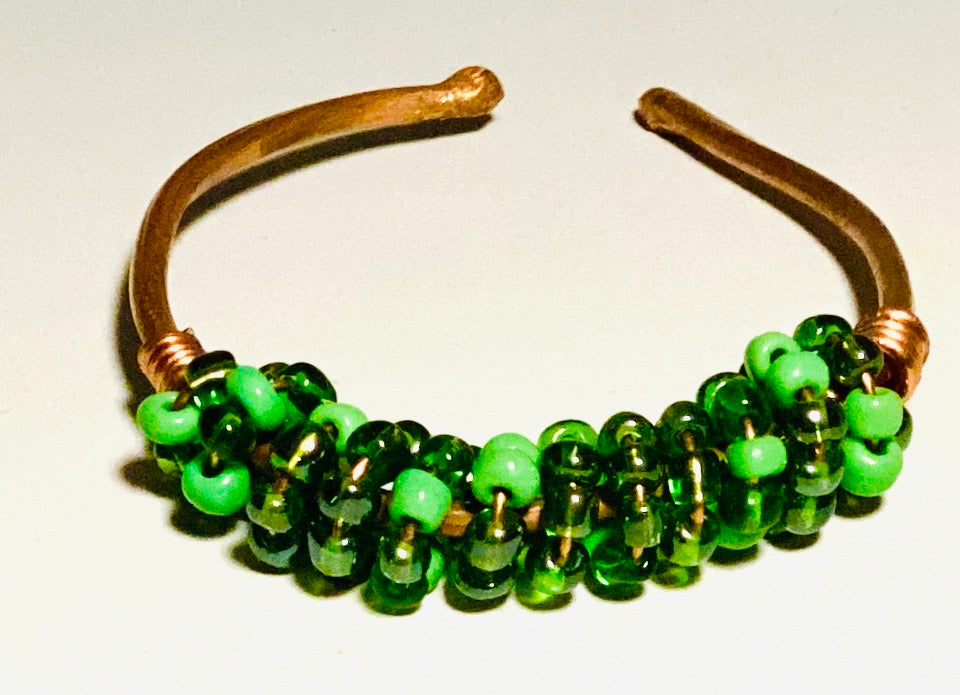 Multi shades of green beads soft copper band for easy opening and adjustments ball ends