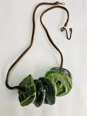 Green Raku Disc Necklace