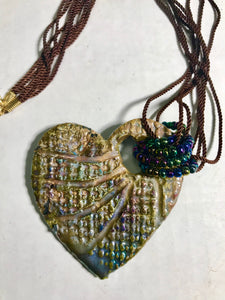 "Heart  Raku Pendant  3"" x 3"" Multi metallic colors textured heart Nice 18"" multiple lace cord"