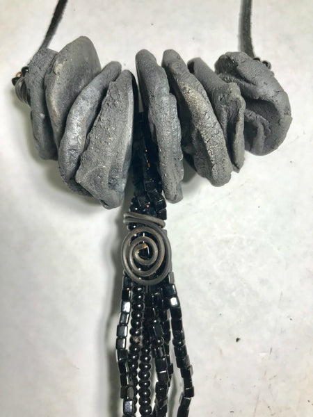 Tribal Raku Beaded Necklace -9