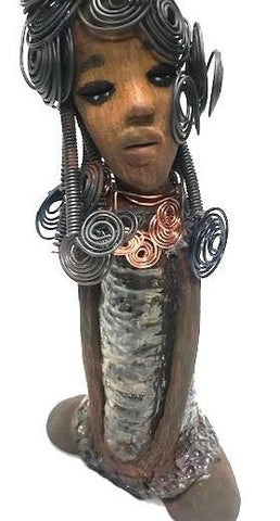 "Irene stand 11"" x 5"" x 3"" and weighs 2.01 lbs. She has a lovely honey brown complexion with big bright eyes. Her Herdew took over 2 hours to complete. It's made with 16 gauge wire. Irene's dress is alligator green with streaks of copper. A copper spiral necklace hangs around her neck. Irene look with expectation with her long loving arms at her side. Give Irene as a gift to your BFF or give her a special place in your home. Free Shipping!"